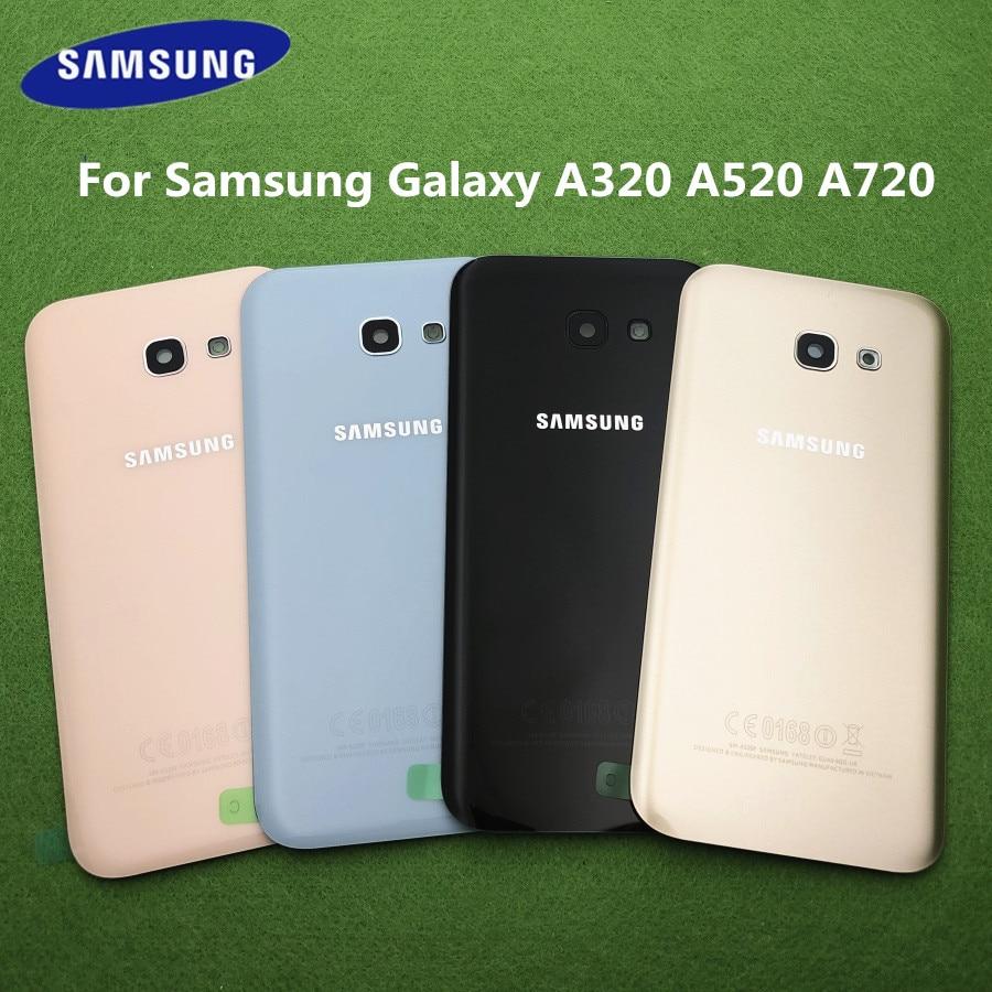 Для Samsung Galaxy A5 2017 A520 SM-A520F A3 A320F A7 A720F задняя крышка для аккумулятора замена корпуса двери + стекло объектива задней камеры