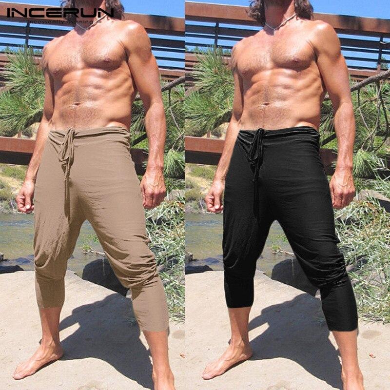 Verano longitud de pantorrilla hombres Casual pantalones harén de hip hop Slim Fitness Joggers pantalones con cordones de gran tamaño caqui S-5XL Color sólido Masculino