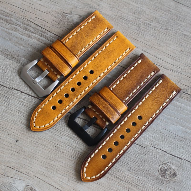 20 22 24mm universel rétro cuir luxe bracelet hommes Italia bracelets de montre pour Panerai Omega ceinture haut de gamme jaune marron bracelets de montre