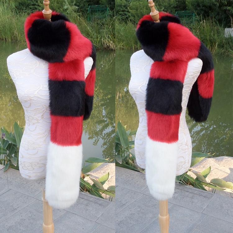 new faux fox fur scarf long fake fur muffler manmade fur shawl winter women creative party cosplay fur scarf collar customerized