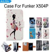 Ailishi فاخرة ملحق الساخن الكرتون فليب غطاء الجلد الحقيبة مع بطاقة الرسم تصميم بو الجلود حالة الهاتف لحالة funker X504P