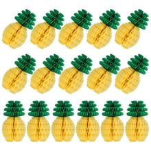 Centro de mesa de panal de piña, papel tisú, suministros de fiesta de piña, decoración colgante de mesa, fiesta hawaiana Luau, cumpleaños W