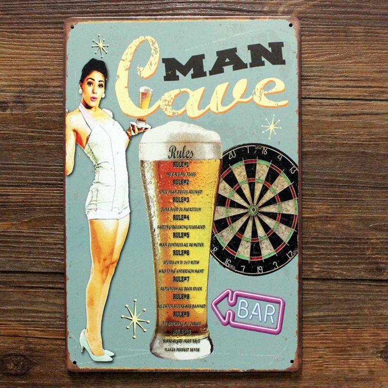 Homem da caverna regras retro metal cerveja estanho sinal para bar pub decoração de parede casa retro sinal arte cartaz homem caverna