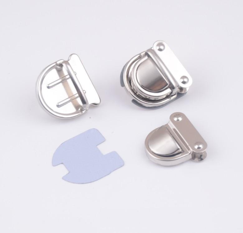 Free Shipping-10 Sets Silver Tone Trunk Lock Handbag Bag Accessories Purse Snap Clasps/ Closure Locks 32x32mm J1823