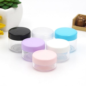 50pcs 10g 15g 20g Round Clear Plastic Cosmetics Jar Makeup Box Nail Art Storage Pot Empty Sample Lotion Face Cream Bottles