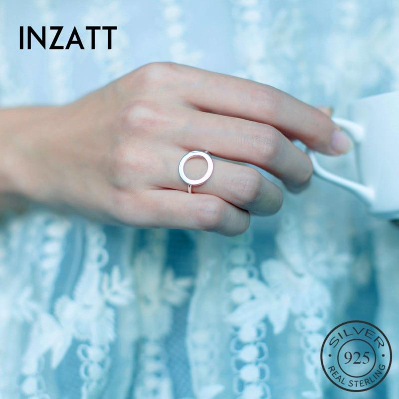 Inzatt real 925 prata esterlina geométrica oco redondo anel ajustável minimalista jóias finas para festa feminino punk acessórios