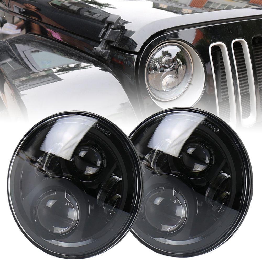 "Marlaa motocicleta 7 ""60 w proyector negro Delgado 7 pulgadas Led faro para Jeep Wrangler JK LJ CJ Yamaha Hummer H1 H2"