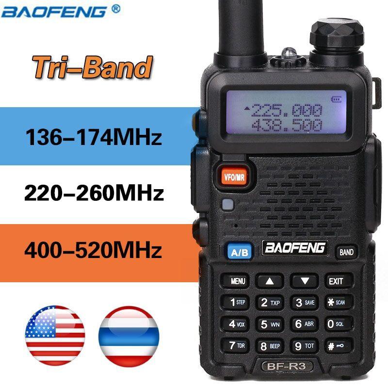 2020 BaoFeng BF-R3 Tri-Band 3 bands Walkie Talkie ham 136-174Mhz 220-260Mhz & 400-520Mhz amatuer handheld Zwei Weg tragbare Radio