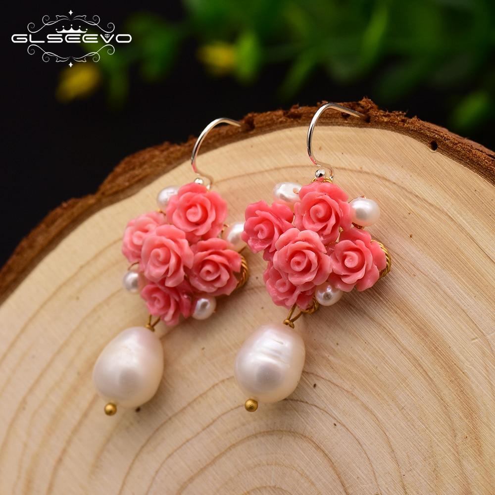 Pendientes XlentAg originales hechos a mano de color rojo Coral Natural para mujer, pendientes colgantes de perlas naturales, joyería de buenos de lujo GE0608