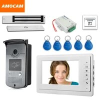 7 touch screen video door phone intercom 1 monitor rfid access camera waterproof 180kg electric magnetic lock door exit