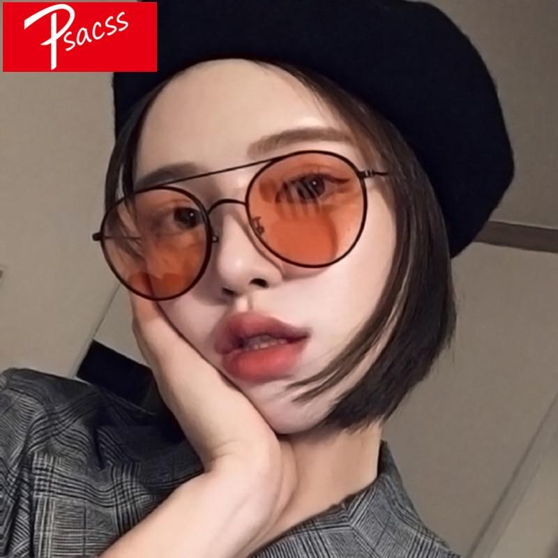 Psacss новые круглые солнцезащитные очки для женщин Ретро брендовый дизайн Высокое качество Женские винтажные солнцезащитные очки металличе...