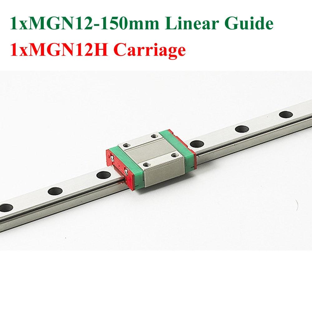 سكة توجيه خطية صغيرة MR12 12 مللي متر ، طول 150 مللي متر مع عربة كتلة خطية MGN12H