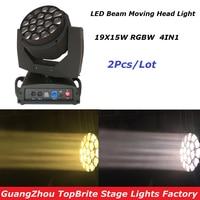 Hot Sales 2XLot IN Flightcase 19X15W 4IN1 RGBW LED Big Bee Eye Moving Head Beam+Wash Light LED Moving Head Beam Light 100-240V