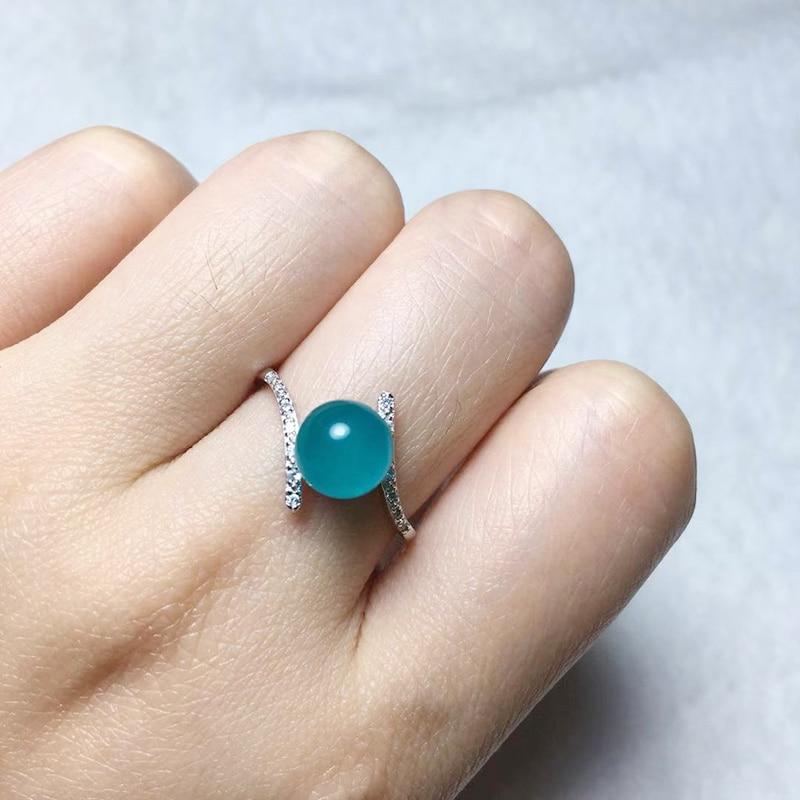 BOEYCJR Simple Mermaid Amazonite stone Rings Fashion Jewelry Rhinestone Energy Rings for Women Engagement Gift anillo anneau