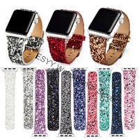 christmas shiny glitter power pu leather bling luxury band wristwatch bracelet strap for apple watch series 43 44 40mm 38 42mm