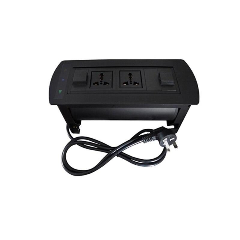أسود الكهربائية كونترتوب التقليب اليدوي دوران المقبس جزءا لا يتجزأ من منفذ متعدد الوظائف 2 المكونات الطاقة لمكتب المنزل