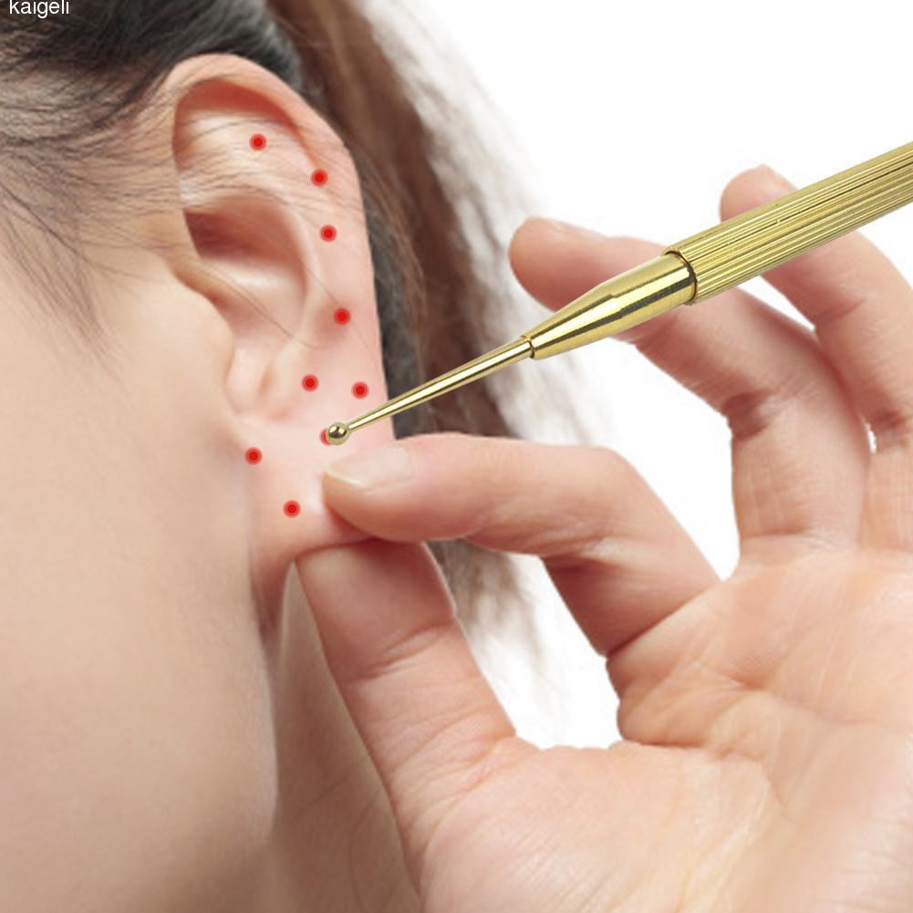 Popfeel haute qualité Flexible en laiton cuivre oreille Massage sonde dacupuncture point dacupuncture détection stylo sonde bâton masseur