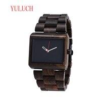 YULUCH Men's Quartz Luminous Needle Watch Classic Brand Business Natural Ebony Wood Rectangular Large Dial Needle Gift