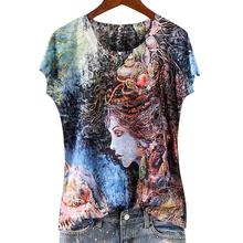 plus size 5XL Summer New Fashion women  Painted Print Ocean Goddess Slim o-neck Silk Short Sleeve T-Shirt tops