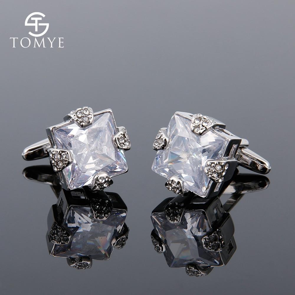 TOMYE Men's High Quality Zircon Cufflinks Creative Design Decoration Fashion Casual Cuff Links for Wedding Gift XK18S023