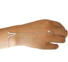 100% 925 sterling silver factory V charm sparking micro pave clear cz link chain long hand bracelets slave bracelet