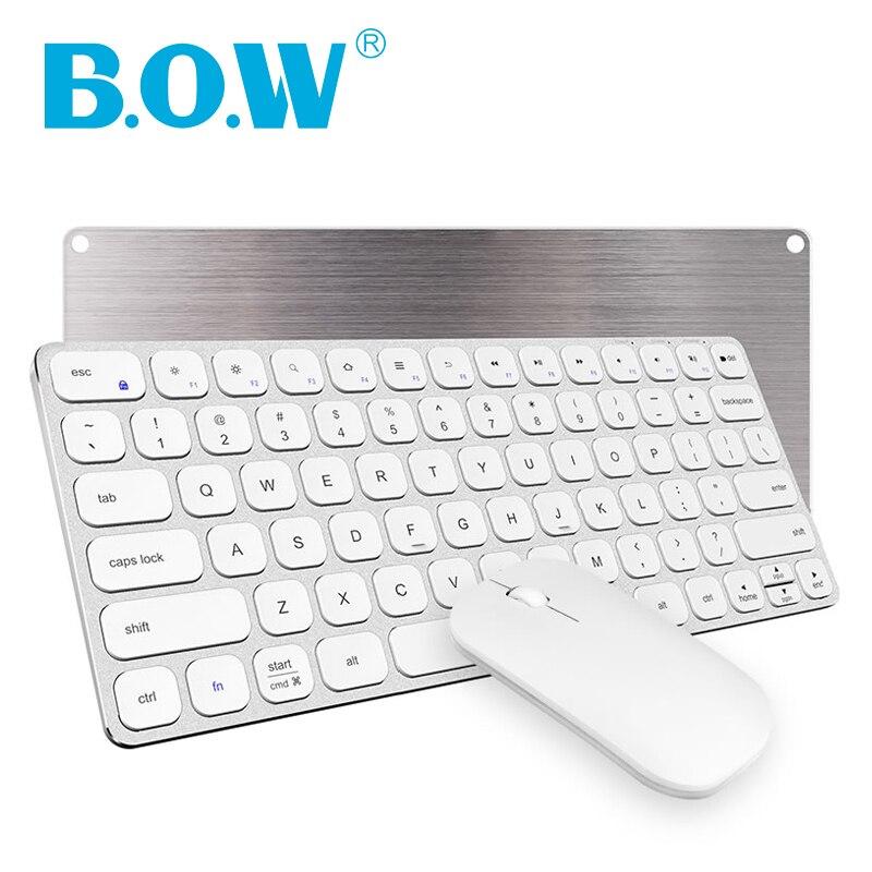 Combinación de teclado y ratón ultrafino B.O.W (diseño recargable) que funciona con un receptor de 2,4 Ghz, teclado de aluminio inalámbrico PC