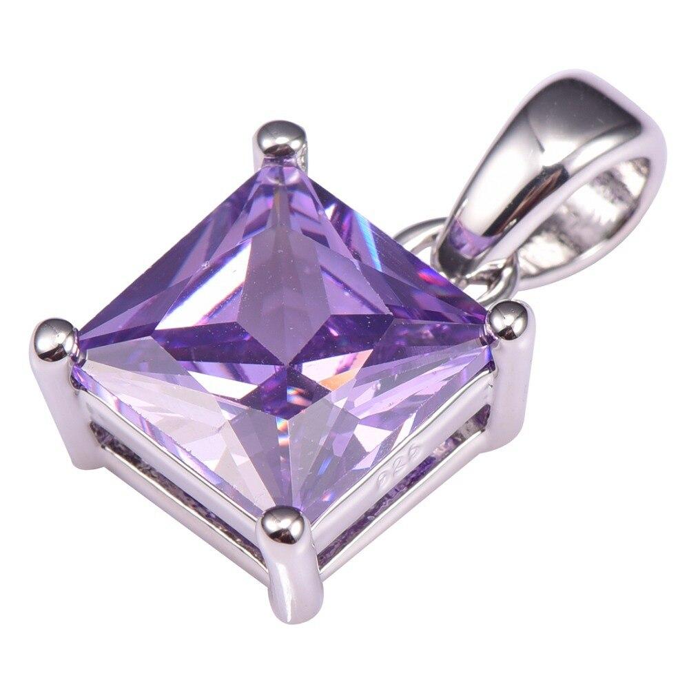 Горячая Распродажа, фиолетовая подвеска с кристаллом цирконом из стерлингового серебра 925 пробы, бесплатная доставка, Новейшая модная прив...