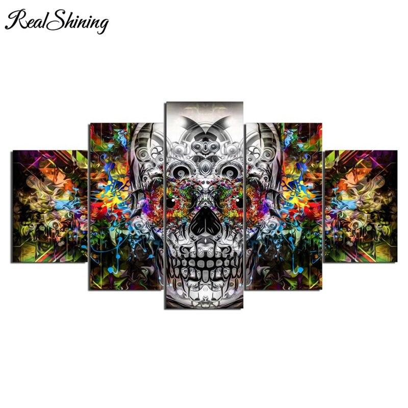 REALSHINING, Cuadrado completo 5D DIY, Tríptico de pintura de diamantes, bordado de diamantes 3d, punto de cruz, mosaicos adhesivos FS1619