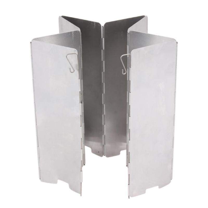 Estufa plegable de 8 placas parabrisas Pantalla de viento Picnic utensilios de cocina cortavientos cocina al aire libre Gas estufa Escudo del viento equipo de Camping