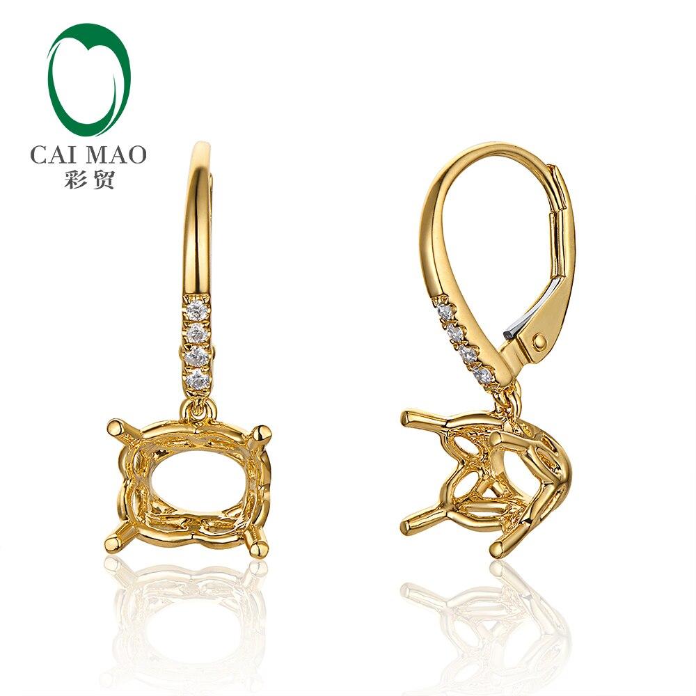 Caimao 7x9 мм овальные цельные 14kt желтое золото левербэк Semi Mount Серьги настройки