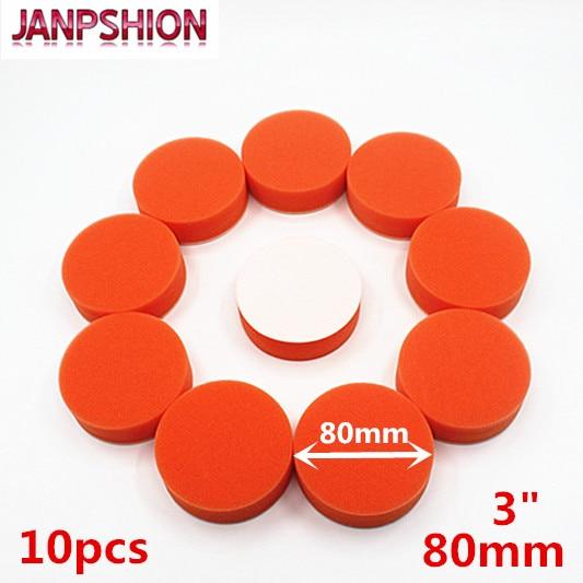 "JANPSHION 10PC 80mm 3"" flat sponge Gross Polishing Buffing Pad Kit for Car Polisher Clean waxing Auto paint maintenance care"