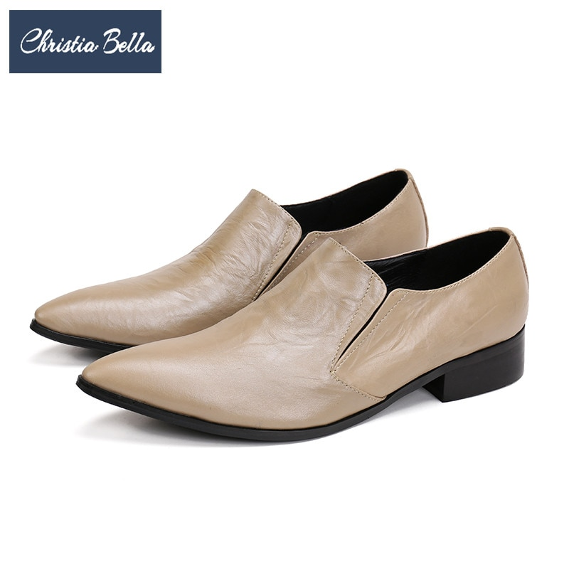 Christia Bella Classic Solid Men Genuine Leather Shoes Business Office Formal Shoes Khaki Pointed Toe Men Dress Shoes Plus Size