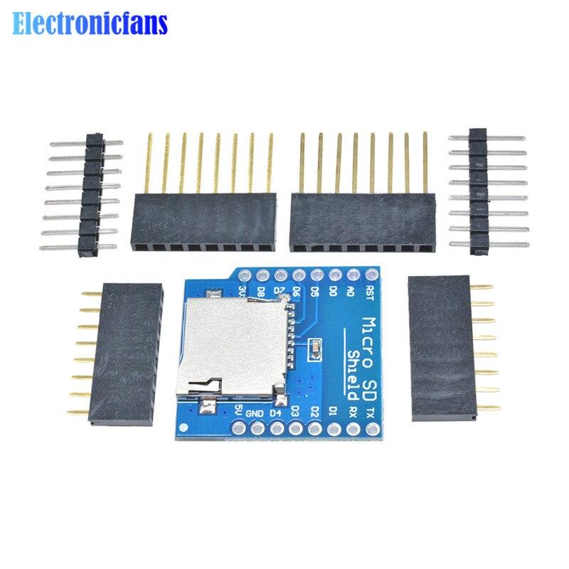 Protector de tarjeta Micro SD para WeMos D1 Mini WiFi ESP8266 TF Módulo de tarjeta de almacenamiento de memoria con pines para Arduino