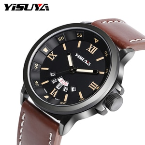 YISUYA Date-Day Military Roman Numbers Sport Men Wrist Watch Outdoor Genuine Leather Band Army Calender Japan Quartz Movement