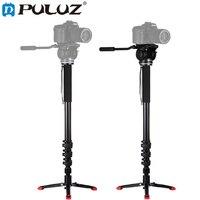 PULUZ Aluminum Alloy Camera Monopod with Mini Tripod Hydraulic Damping Gimbal For Canon Nikon Sony DSLR Unipod for Photography