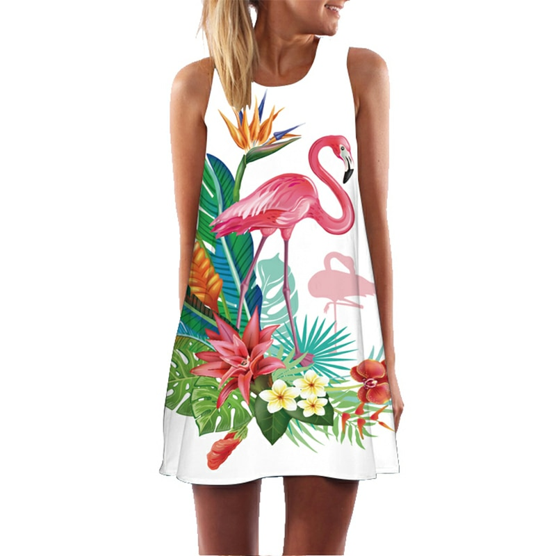 Vestido acampanado con estampado Floral de flamenco para mujer, vestido sin mangas de playa bohemio de verano, sexis vestidos de fiesta para mujer, vestidos informales vestido