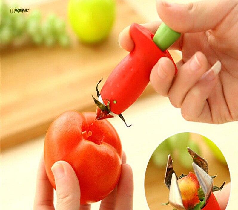 1 PC Novas Hullers Morango Metal + Plastic Fruit Dispositivo Remover Talos Talos de Tomate Faca Morango Stem Remover OK 0253