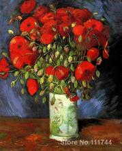 Vase dart moderne avec cotons rouges de Vincent Van Gogh   Peintures pour salon peint à la main de haute qualité