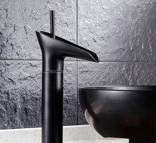Black Brass Waterfall Faucet Bathroom Vanity Vessel Sinks Mixer Bathroom Basin Sink Faucet Tap Cold And Hot Water Tap Khg036