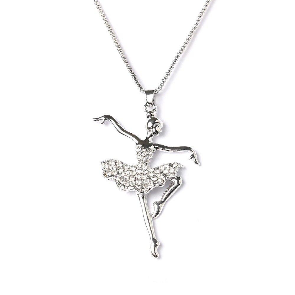 Moda blanco chapado de plata bailarina Ballet danza colgante con abalorio chicas navidad regalo del Día de San Valentín