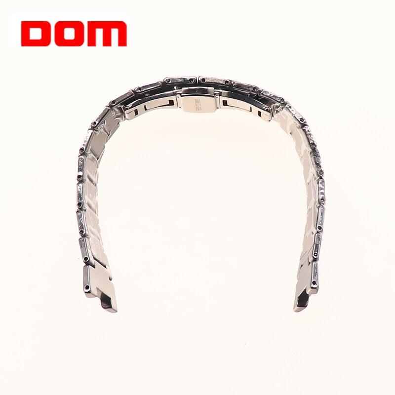 men watch strap for DOM w-698 tungsten steel strap stainless steel push button hidden clasp
