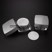 100 pièces 15ml argent acrylique pot de soin de la peau, récipient de crème de forme carrée, 15ml emballage cosmétique vente en ligne