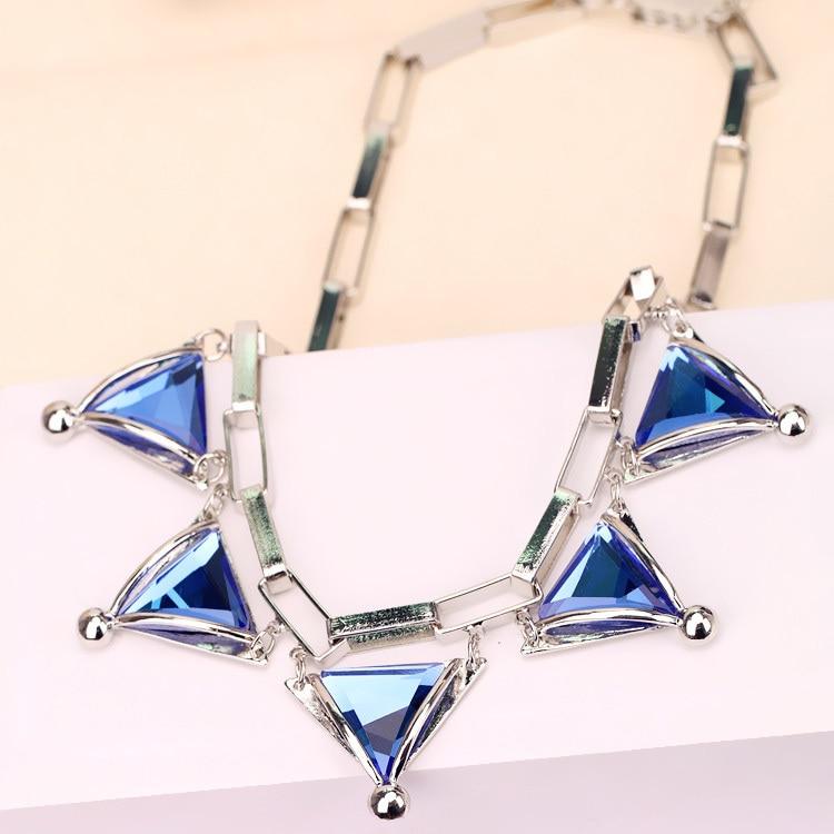 Women Trendy Punk Clubwear Crystal Triangle Clavicle Choker Necklace Chunky Gun Black Chain Jewelry