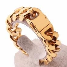 Haute qualité en acier inoxydable or argent couleur noir couleur bordure cubaine chaîne épaisse Bracelets bijoux