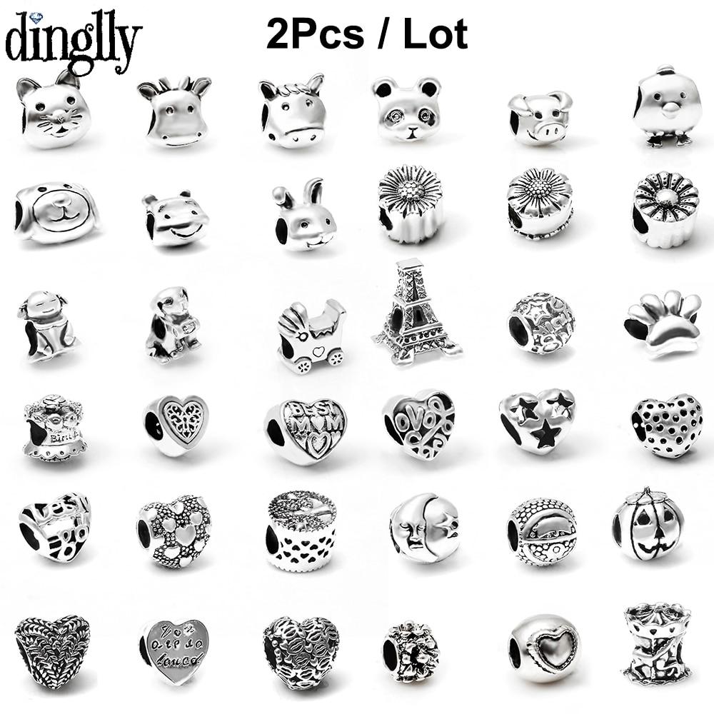 Dinglly, 2 uds., abalorios de dibujos animados de animales, perro, oso, amor, Color plata, abalorio, compatible con pulseras, brazaletes, joyería DIY