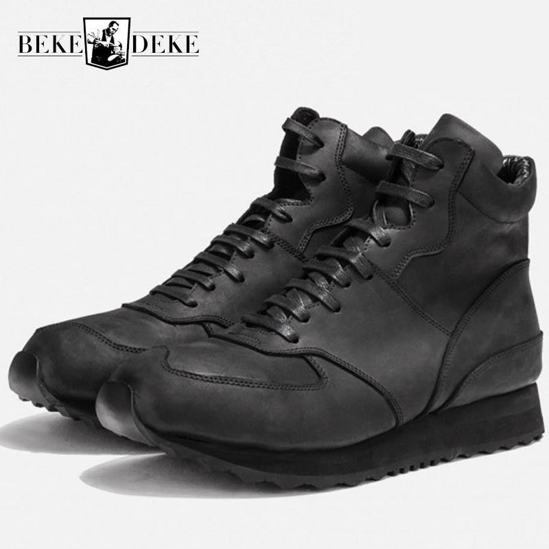 Zapatillas de diseñador con plataforma para hombre, Vintage, de cuero auténtico, con cremallera, informales, zapatos de alta calidad, zapatillas deportivas transpirables blancas y negras para hombre