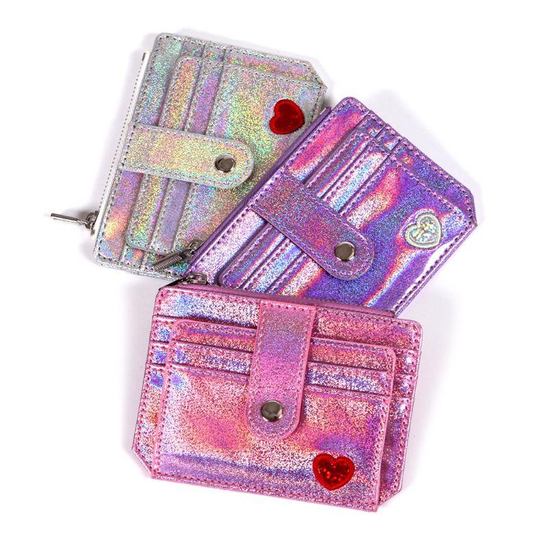 THINKTHENDO 2019 New Fashion Wallet Slim Money Credit Card Holder ID Business Women Laser Shining PU Leather Purse Case