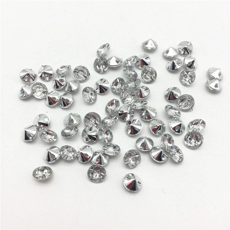 Botones diminutos acrílicos de diamantes de imitación plateados de 100 Uds., botas de abrigo redondas brillantes de lujo para bebé, accesorios de costura para ropa de muñecas, botón