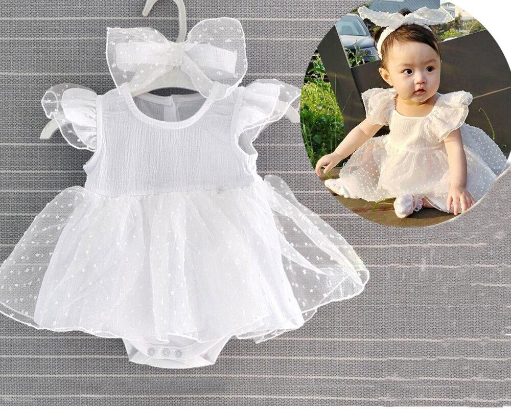 Traje de 0-3 m para recién nacidos y niñas + Accesorios de foto de diadema 6 9 meses fiesta de cumpleaños del bebé bautizo princesa vestido regalo de Ducha