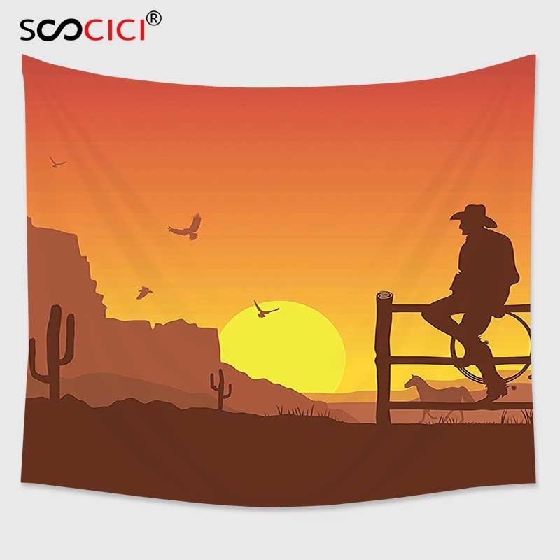 Cutom tapiz colgante de pared, decoración occidental silueta de vaquero en Wild West Sunset paisaje Cultura Americana imagen artística